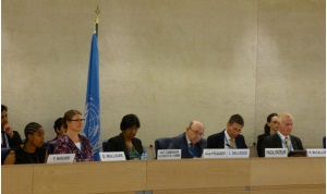 Panellists sit in a room in the United Nations with a UN Flag draped behind them. Name signs on the front of the panel indicate they are Ms Y Nigussi, Ms D Mulligan, the UN High Commissioner for Human Rights (Ms Navi Pillay), Mr L Galligos, the Vice President and Prof R McCallum (Facilitator).